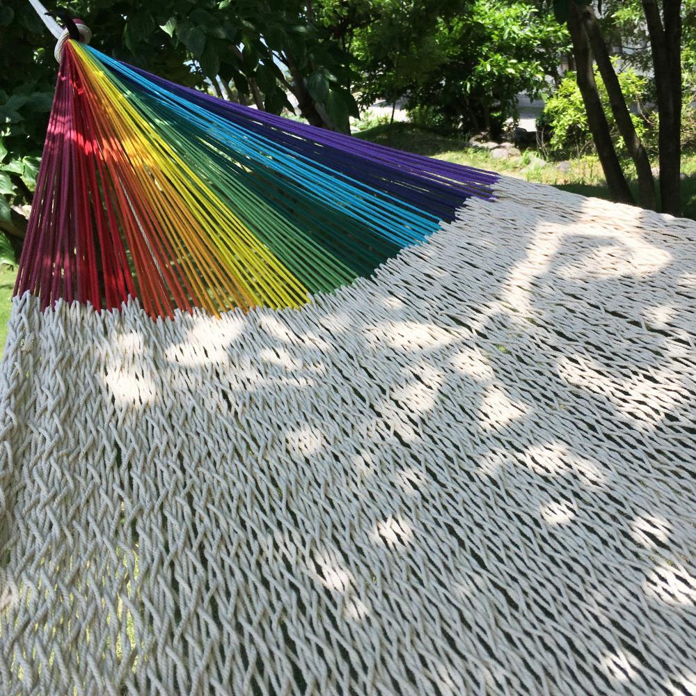 ハンモック ベッド型 太糸コットン 【reguler size】ナチュラルwithレインボーアーム natural with rainbow arm  ムラブリハンモ…