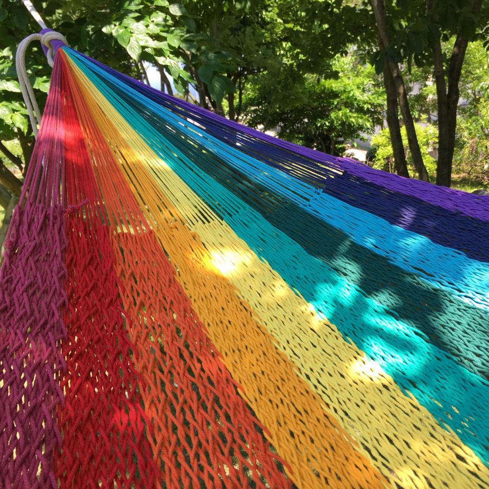 ハンモック ベッド型 太糸コットン 【reguler size】レインボー rainbow ムラブリハンモック