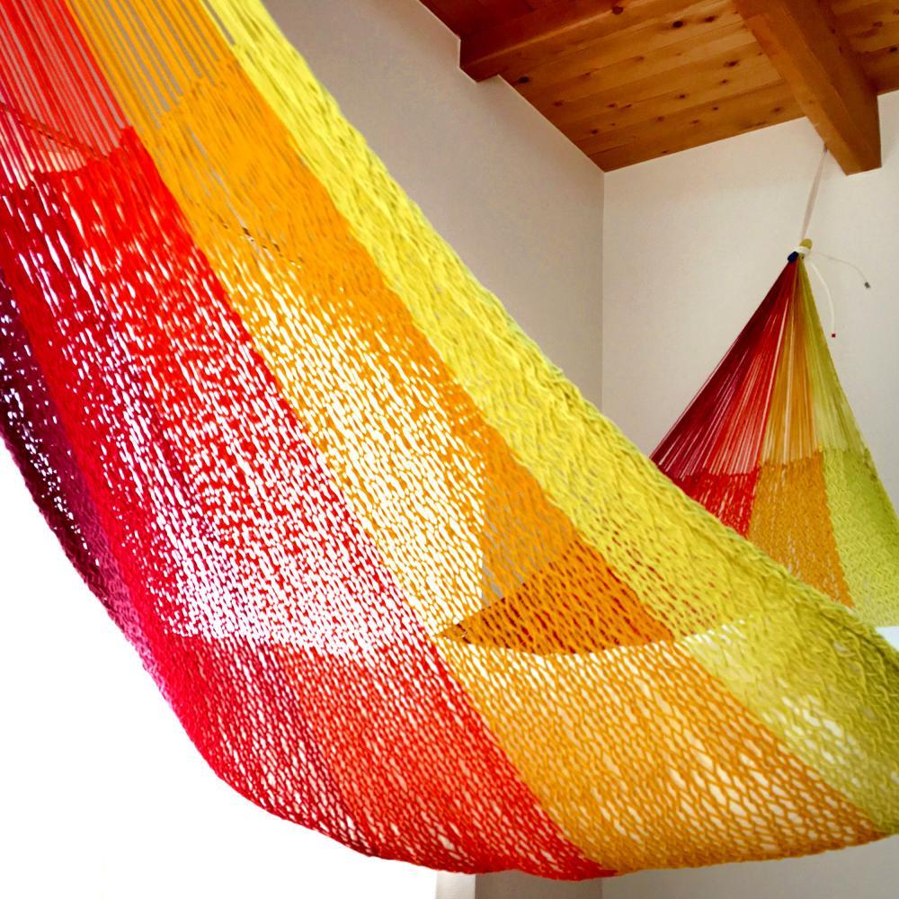 ハンモック ベッド型 太糸コットン 【reguler size】ホットレインボー hot rainbow  ムラブリハンモック