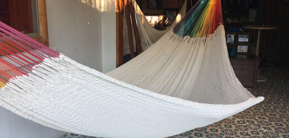 ハンモック ベッド型 細糸コットン スタンダード編み レギュラーサイズ ナチュラルwithレインボーアーム
