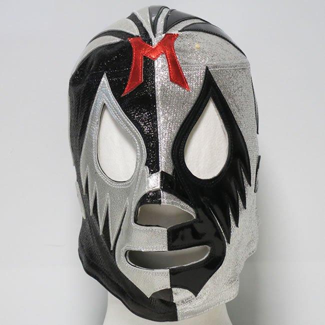 仮面貴族 ミル・マスカラス 試合用ハーフマスク ブラック×シルバーハーフトレード  IM23478