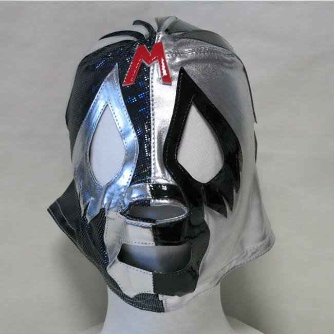 仮面貴族 ミル・マスカラス セミプロマスク byアレナメヒコ 銀黒ハーフ NM22063