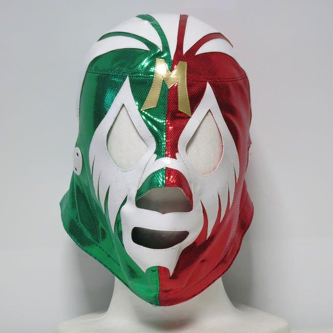 仮面貴族 ミル・マスカラス グリーン×レッドハーフトレード セミプロマスク  KM22809
