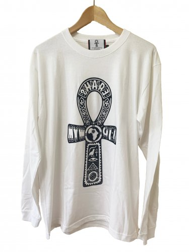<img class='new_mark_img1' src='https://img.shop-pro.jp/img/new/icons15.gif' style='border:none;display:inline;margin:0px;padding:0px;width:auto;' />Ankh Long sleeve flocking T-shirt【White】