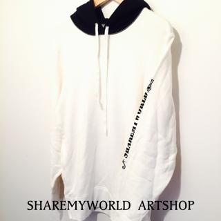 2tone hoodie【White×Black】