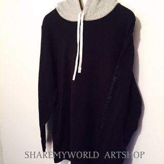 2tone hoodie【Black×Heather】