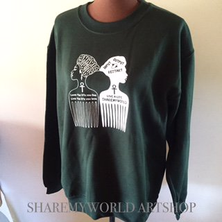 Afro comb sweat shirt【Green】
