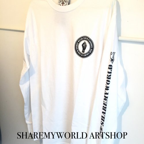 Black power Long sleeve T-shirt【White,Black】