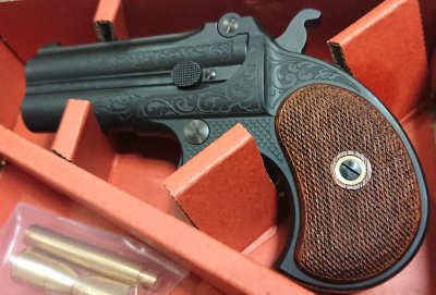 ★MULE ダブルバレルデリンジャー Engraving F.C.SP. Wood Grip 発火式 CAW モデルガン