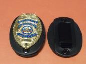 ★ENFORCEMENTSECURITYOFFICER ポリスバッジケース付 Hセット ゴールド POLICE 警察