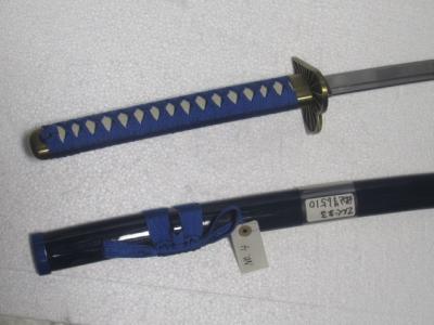 ★模造刀 武士 コミック剣 金属製 青色 てんぐまる ハート型の鍔 アニメNo,4