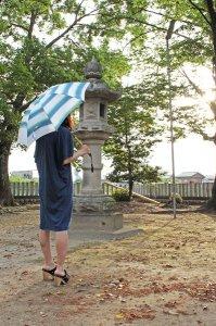 傳tutaee 日傘 きつねのたすき ボーダー(白×緑×青)