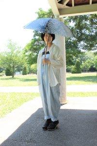 傳tutaee 日傘 きつねのたすき オハナ (青×水色)