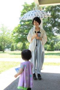 傳tutaee 日傘 きつねのたすき カクカク (紺×生成り)
