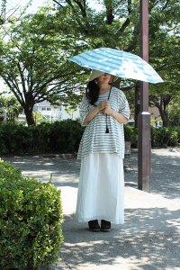 傳tutaee 折り畳み日傘 うさぎのたすき ボーダー (水色×白)