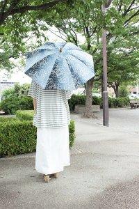 傳tutaee 折り畳み日傘 うさぎのたすき オハナ (青×水色)