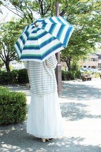 傳tutaee 折り畳み日傘 うさぎのたすき ボーダー(白×緑×青) レディース