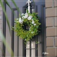 春〜夏にぴったり!爽やかな印象の白バラとグリーンベリーのグリーンリース