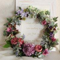 【即日配送】敬老の日に シャクヤクとバラのフラワーリース 高級造花