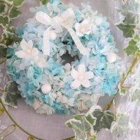 水色のプリザーブドフラワーのアジサイが可愛いフラワーリース(小)