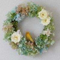 ローズマリアンヌと小鳥のプリザーブドフラワーリース