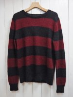 【Magine】WOOL MOHAIR MEDIUM BORDER KNIT(RED)