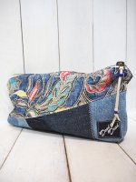 【DEAD THE DEAD】REMAKE PATCHWORK POUCH(NAVY×DENIM)