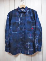 【SEVESKIG】OVERLAID JACQUARD CHECK SHIRT(BLUE)
