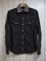 <img class='new_mark_img1' src='//img.shop-pro.jp/img/new/icons14.gif' style='border:none;display:inline;margin:0px;padding:0px;width:auto;' />【AYUITE】SW HAND DENIM SHIRT(BLEACH BLACK)