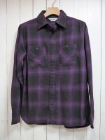 【FIVE BROTHER】LIGHT NEL WORK SHIRT(PURPLE OMBRE)