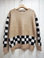 【SEVESKIG】 MOHAIR BRUSHED CHECKER SWETHER(BEIGE)