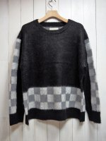 【SEVESKIG】 MOHAIR BRUSHED CHECKER SWETHER(BLACK)