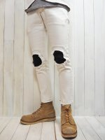 <img class='new_mark_img1' src='https://img.shop-pro.jp/img/new/icons41.gif' style='border:none;display:inline;margin:0px;padding:0px;width:auto;' />【Burnout】STRETCH REMAKE DENIM PANTS(WHITE)
