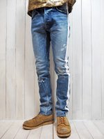 【AYUITE】STRETCH SELVEDGE USED DENIM PANTS /w SIDE LINE (INDIGO)