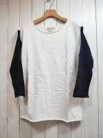 【GRAB IN HOLLYWOOD】FRENCH TERRY ALL CUT 3/4 SLEEVE(WHITE×NAVY)