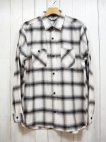 【FIVE BROTHER】LIGHT NEL WORK SHIRT(WHITE OMBRE)