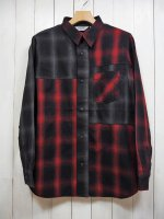 <img class='new_mark_img1' src='https://img.shop-pro.jp/img/new/icons14.gif' style='border:none;display:inline;margin:0px;padding:0px;width:auto;' />【FIVE BROTHER】LIGHT NEL CRAZY PATTERN SHIRT(RED×GRAY OMBRE)