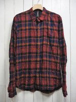 <img class='new_mark_img1' src='https://img.shop-pro.jp/img/new/icons14.gif' style='border:none;display:inline;margin:0px;padding:0px;width:auto;' />【STRUM】TARTAN PLAID SHIRRING STRETCH COTTON L/S TIERED SHIRT(RED)