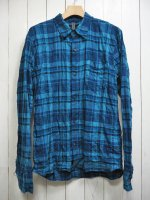 【STRUM】TARTAN PLAID SHIRRING STRETCH COTTON L/S TIERED SHIRT(BLUE)