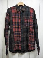 <img class='new_mark_img1' src='https://img.shop-pro.jp/img/new/icons14.gif' style='border:none;display:inline;margin:0px;padding:0px;width:auto;' />【STRUM】TARTAN PLAID SHIRRING STRETCH COTTON L/S TIERED SHIRT(BROWN×RED)