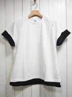 【STRUM】LOOPBACK SWEAT CREW NECK LAYERED T-SHIRT(WHITE×BLACK)