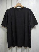 【STRUM】NATURAL SOFT COTTON PLAIN STITCHES CREW NECK WIDE T-SHIRT(BLACK)