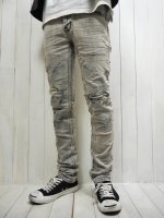 <img class='new_mark_img1' src='https://img.shop-pro.jp/img/new/icons14.gif' style='border:none;display:inline;margin:0px;padding:0px;width:auto;' />【STRUM】11oz ORGANIC COTTON STRETCH DENIM TIGHT STRAIGHT JEANS CRASH & REPAIR -TIGHT JOE- (WHITE)