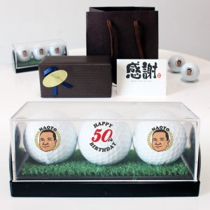 似顔絵ゴルフボール3球