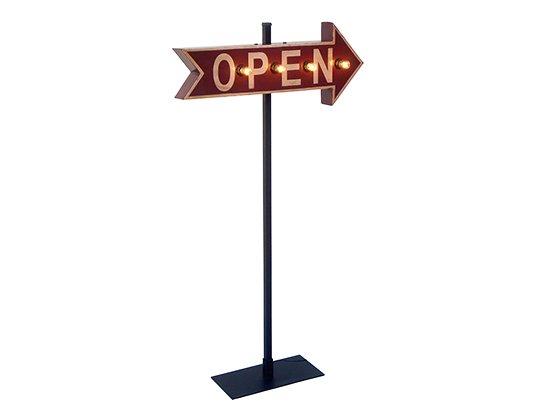 アローライト/矢印電球立て看板【OPEN/オープン】