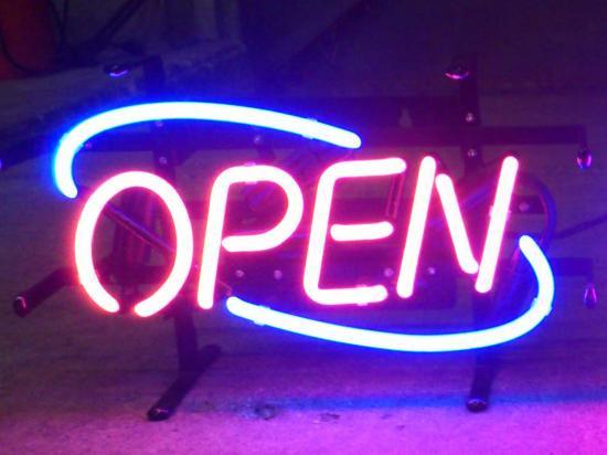 オープンの文字のおしゃれなネオン