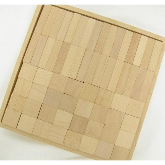 オリジナル積み木 立直64ピース ブナ 白木 無垢 木箱入