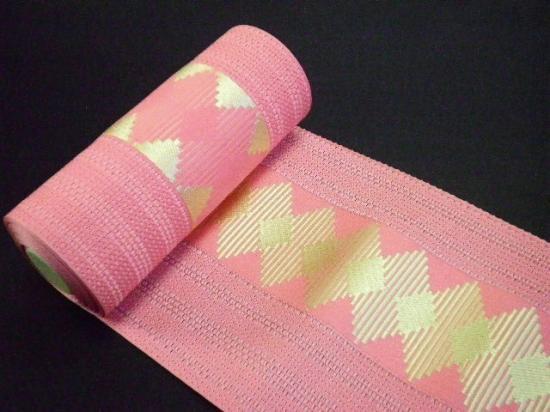 2016入荷 新柄 正絹博多浴衣帯「落ち着いたピンクに金系色の菱つなぎ」粗めの紗 単