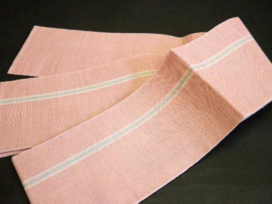 本麻浴衣帯 渋い藤ピンク地に白/灰ライン  ゆかた半巾帯麻100% (竺仙浴衣等に)小袋 入荷問合せ