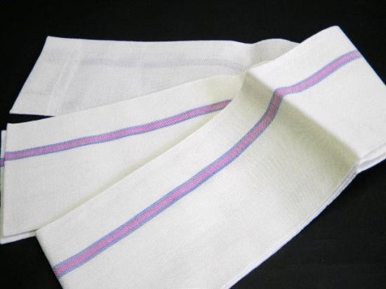 本麻浴衣帯  白地に青/ピンクライン ゆかた半巾帯麻100% (竺仙浴衣等に)小袋 京都老舗メーカー製